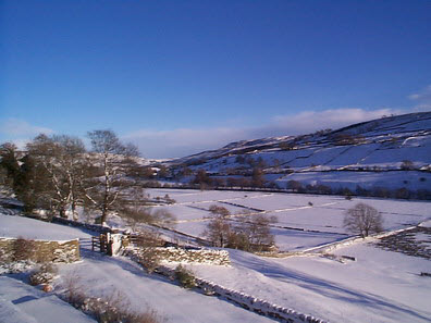 View from Low Row towards Reeth in the snow